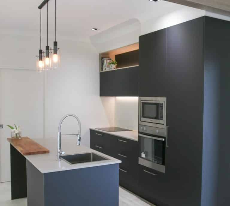 Simple Black Modern Kitchen — Askin Cabinets in Caloundra, QLD